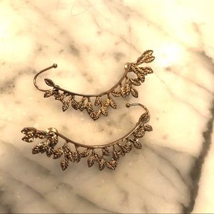 Forever 21 gold leaf ear climber earrings